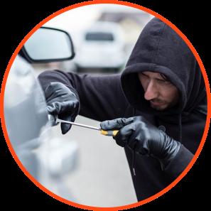 Burglar Trying to Break Into a Car